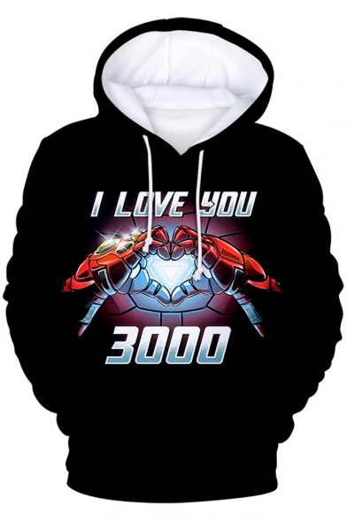 Cool Iron Hand Heart Letter I Love You 3000 Print Black Long Sleeve Drawstring Hoodie