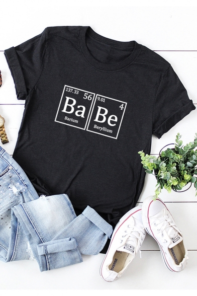 Creative Funny Letter BA BE Printed Round Neck Short Sleeve Casual Tee LC526327 Baycheer