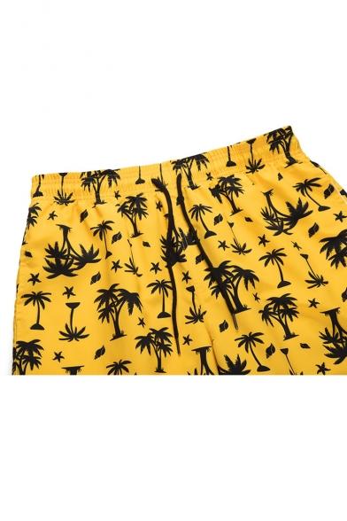 Fashion Allover Coconut Palm Print Yellow Beach Swim Trunks for Men