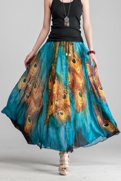Fashion Blue Peacock Feather Tribal Printed Drawstring Waist Two-Way Maxi Flowy Skirt