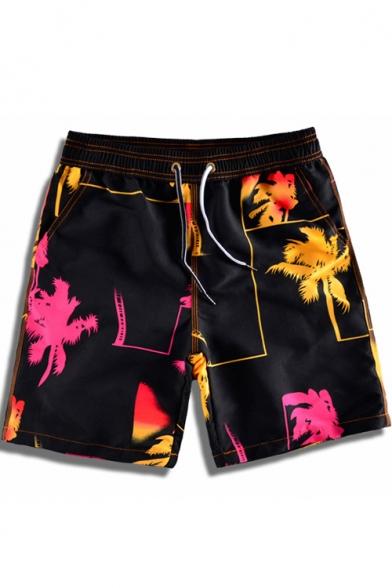 Guys Summer Basic Drawstring Waist Fashion Print Black Surf Swim Trunks