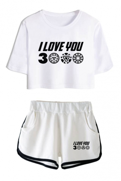 Hot Fashion Letter I Love You 3000 Cropped T-Shirt Relaxed Shorts Summer Two-Piece Set