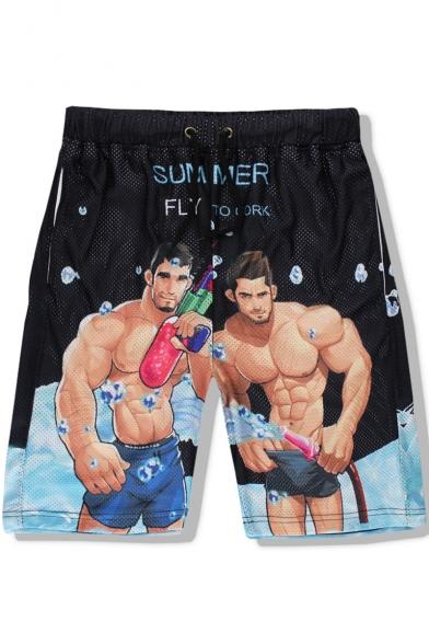 Men's Summer Cool Muscle Men Print Drawstring Waist Beach Swim Trunks
