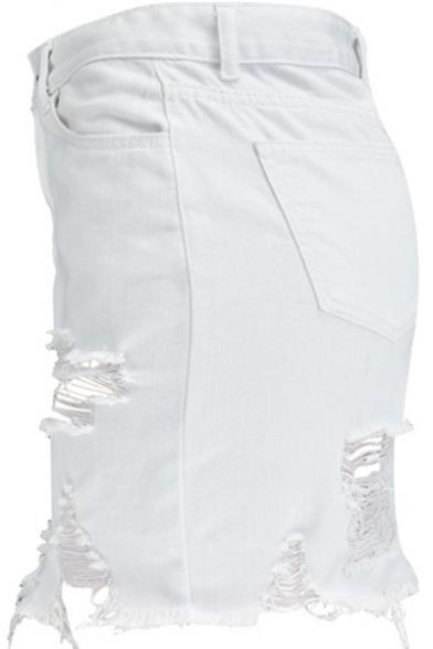 New Stylish Destroyed Ripped Frayed Hem Mini White Bodycon Denim Skirt