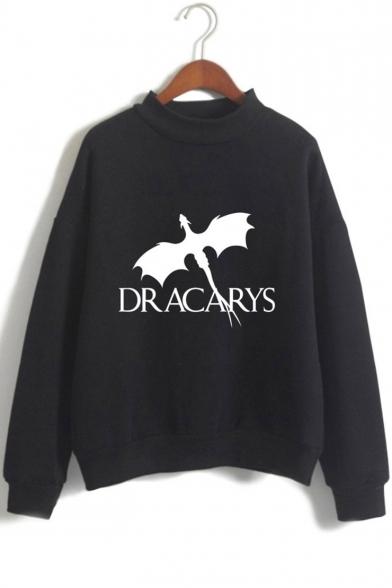 New Trendy Mock Neck Long Sleeve Dragon Dracarys Printed Casual Pullover Sweatshirt