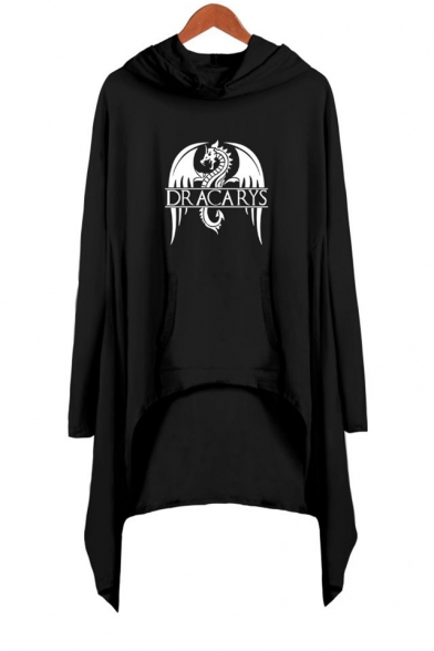 Popular Dragon Dracarys Printed Long Sleeve Hooded Shift Asymmetrical Dress