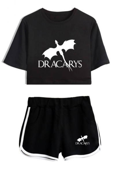 Popular Dragon Dracarys Short Sleeve Cropped Tee with Loose Shorts Sport Two-Piece Set for Girls