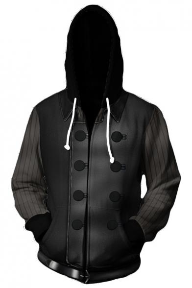 Trendy 3D Cosplay Striped Print Long Sleeve Black Zip Up Drawstring Hoodie