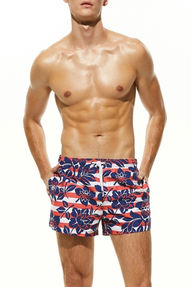 Stylish Stripe Floral Printed Mens Summer Breathable Beach Shorts Swim Shorts