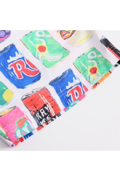 Summer Cool Colorful Cans Printed Elastic Waist Guys Loose Casual Beach Swim Trunks