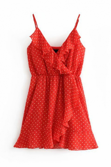 Summer Fashion Polka Dot Printed Ruffled Hem Chiffon Mini A-Line Slip Dress