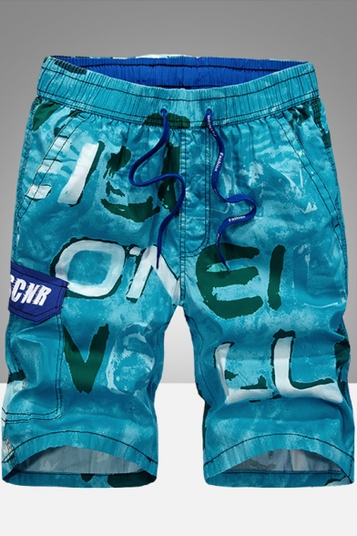 Summer Men's Fashion Pattern Breathable Casual Loose Beach Shorts Swim Trunks