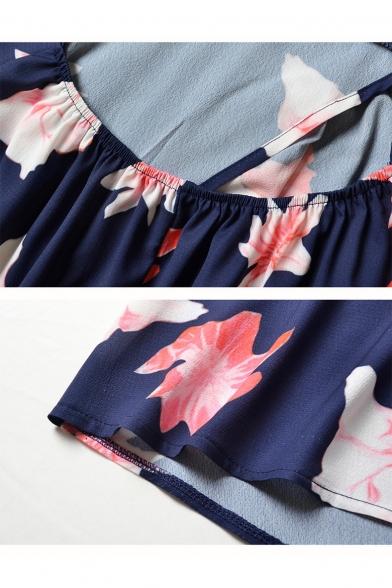 Summer Navy Floral Printed Sexy V-Neck Open Back Split Side Maxi Holiday Beach Slip Dress
