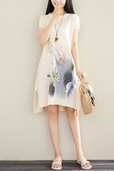 Summer New Trendy Floral Printed Round Neck Short Sleeve Midi Beige Jersey Shift Dress for Women