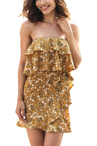 Summer Yellow Floral Printed Strapless Mini Ruffled Bandeau Dress