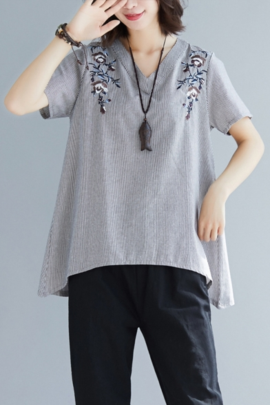 Trendy Embroidered Floral Print V Neck Short Sleeve Oversized Linen Tee