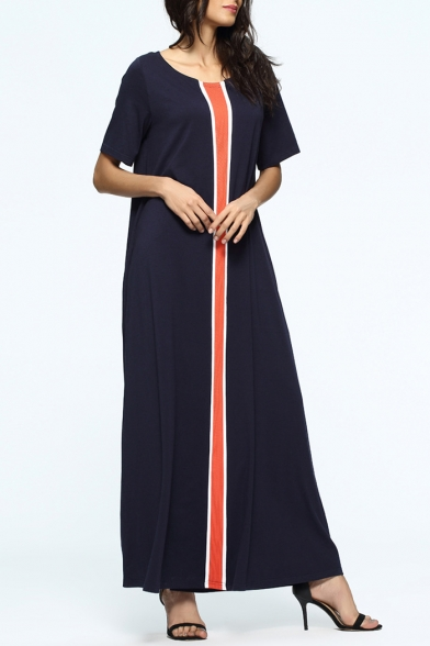 Trendy Fashion Navy Stripes Color Block Round Neck Short Sleeve Maxi Muslin Dress For Women