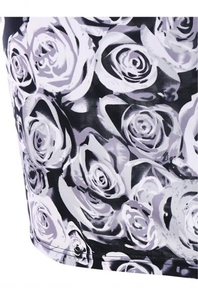 Trendy Floral Print Chiffon Patch Short Sleeve Ruffles Round Neck Midi Dress