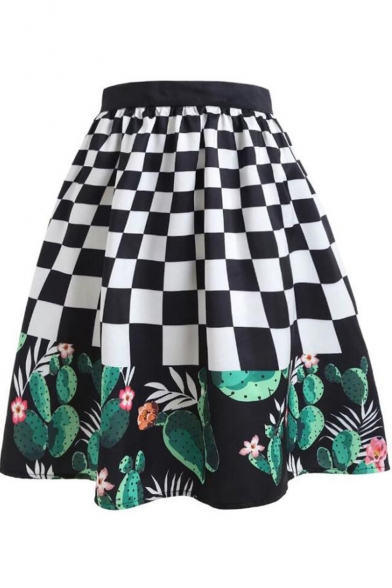 Unique Black and White Plaid Cactus Printed Vintage Midi A-Line Swing Skirt