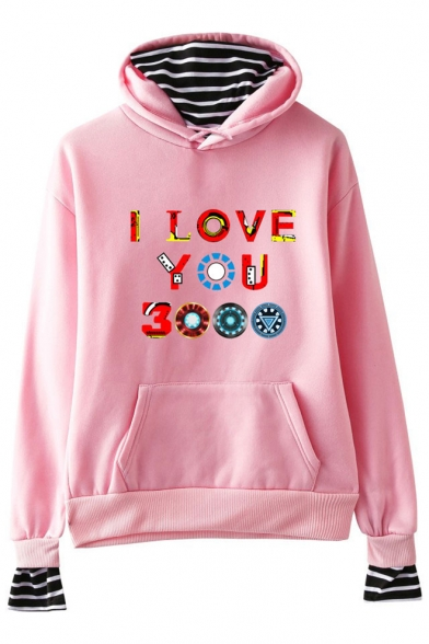 Unique Colorful Letter I Love You 3000 Fake Two-Piece Loose Fit Unisex Hoodie
