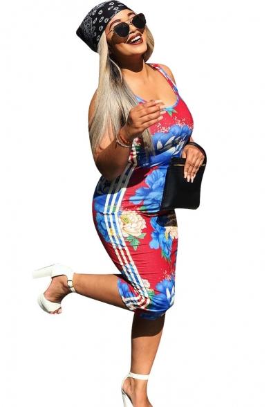 Women Color Block Floral Side Stripe Print Scoop Neck Sleeveless Midi Bodycon Dress
