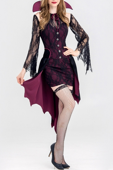 Womens Fancy Halloween Vampire Cosplay Costume Purple Party Dress