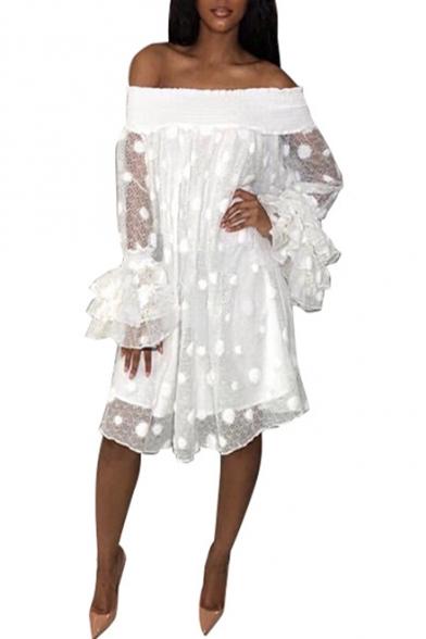 Womens New Stylish Polka Dot Off the Shoulder Ruffled Sleeve Jacquard Midi Dress