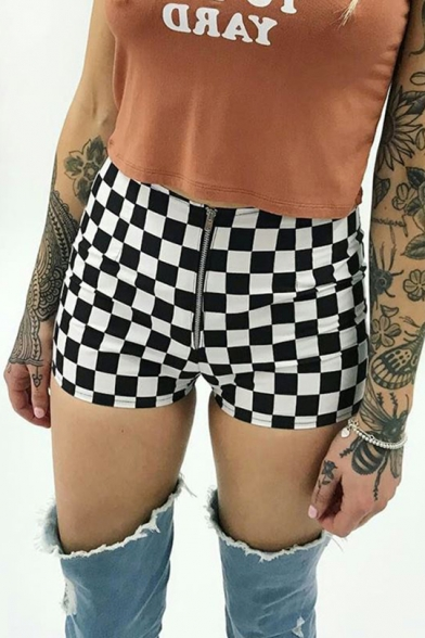 Womens Stylish Black and White Check Printed Skinny Fit Zipper Fly Shorts