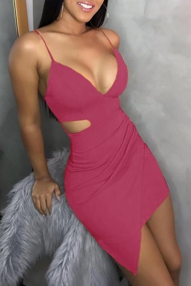 Womens Summer Sexy Solid Color Sleeveless Plunge Neck Cut Out Side Mini Bodycon Nightclub Dress