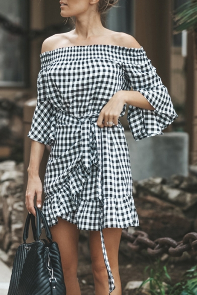 Classic Black and White Plaid Printed Off the Shoulder Tied Waist Mini Ruffled Dress