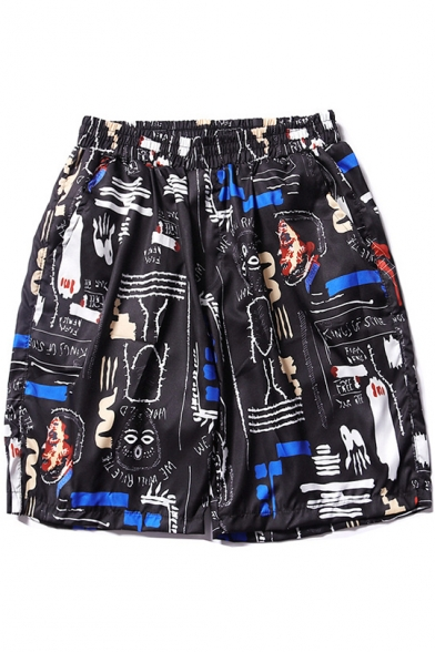 Fashion Comic Cartoon Graffiti Loose Casual Black Swim Shorts with Pocket