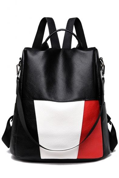 Glamorous Color Block Multipurpose Black PU Leather Shoulder Bag Backpack 31*15*34 CM