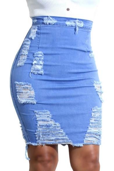 Hot Fashion Destroyed Ripped Frayed Hem Bodycon Skirt Denim Skirt