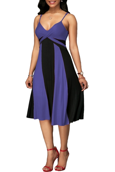 New Fashion Colorblock V-Neck Women's Plus Size Midi A-Line Slip Dress
