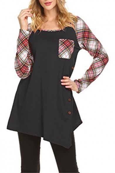 New Style Contrast Round Neck Long Sleeve Plaid Button Detail T-Shirt for Women