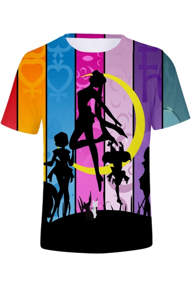 New Stylish Colorblock Striped Sailor Moon Comic Girl Round Neck T-Shirt