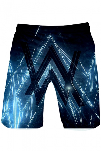 New Trendy Blue Double Letter W Logo Print Loose Fit Casual Shorts for Men
