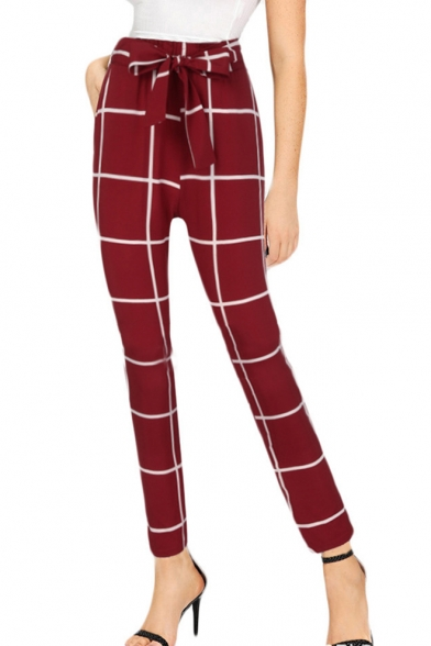 New Trendy Check Printed Bow Tied Waist Womens Slim Fit Pants