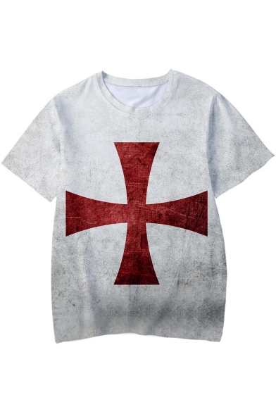 Popular Knights Templar Red Cross Printed Basic Short Sleeve T-Shirt