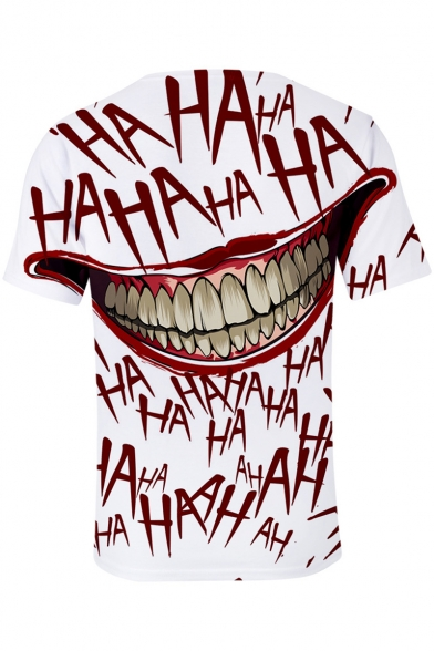 Stylish Joker Clown Mouth Letter HA Graffiti Print White T-Shirt