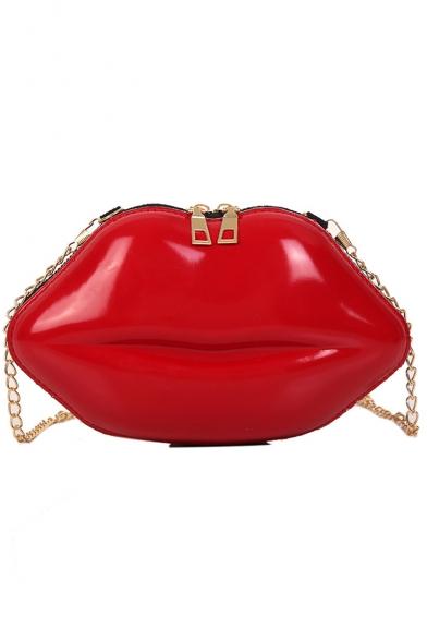 Stylish Lip Shape Crossbody Clutch Handbag with Gold Chain Strap 15*6*16 CM