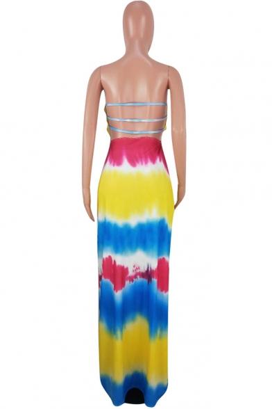 Summer Bohemian Style Fashion Tie Dye Hollow Out Back Maxi Beach Dress Bandeau Dress for Women
