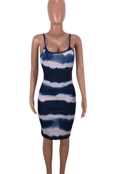Summer Fancy Tie Dye Print Halter Neck Knee Length Bodycon Dress