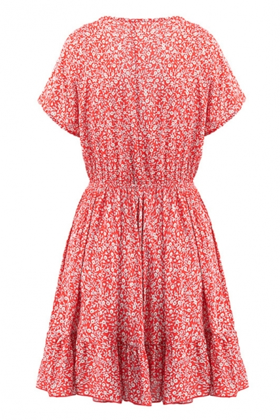 Summer Red Floral Printed Knotted V-Neck Short Sleeve Ruffled Mini A-Line Dress