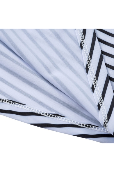 Summer Stylish Blue Striped Printed Two-Piece Tankini Swimwear