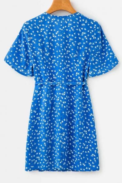 Summer Trendy Blue Floral Printed Surplice V-Neck Tied Waist Mini A-Line Dress