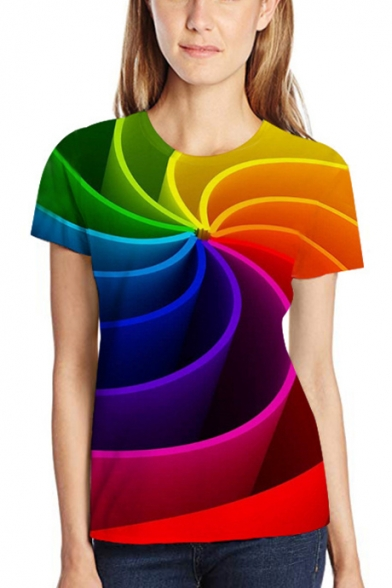 Unisex Colorful 3D Printed Round Neck Short Sleeve Tee