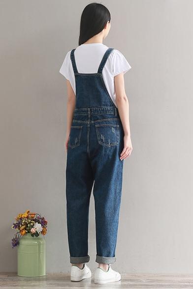 Women's Classic Blue Plain Pockets Details Denim Overall Jumpsuits