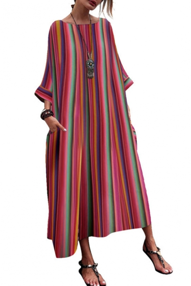Women's Hot Fashion Ethnic Stripes Round Neck Long Sleeves Loose Maxi Dress With Pockets