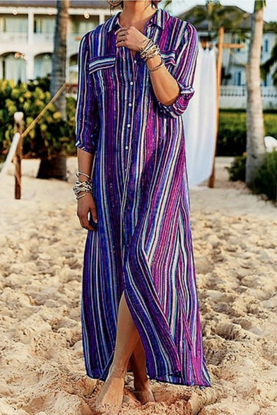 Women's Hot Sale Rainbow Striped Print Long Sleeve Maxi Shirt Dress Beach Dress